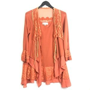 Pretty Angel Orange lacey Lagenlook tunic Large
